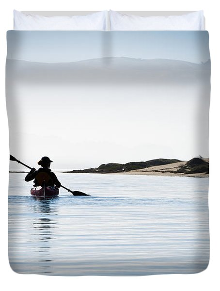 Silhouetted Kayaker in Morro Bay Duvet Cover by Bill Brennan - Printscapes