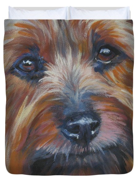 Silky Terrier Duvet Cover by Lee Ann Shepard