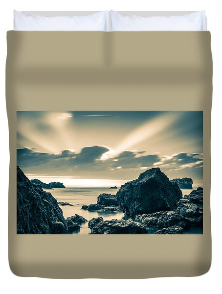 Duvet Cover featuring the photograph Silver Moment by Thierry Bouriat
