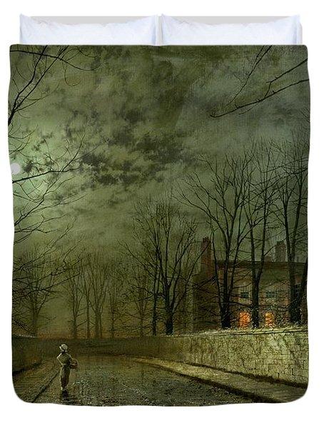 Silver Moonlight Duvet Cover by John Atkinson Grimshaw