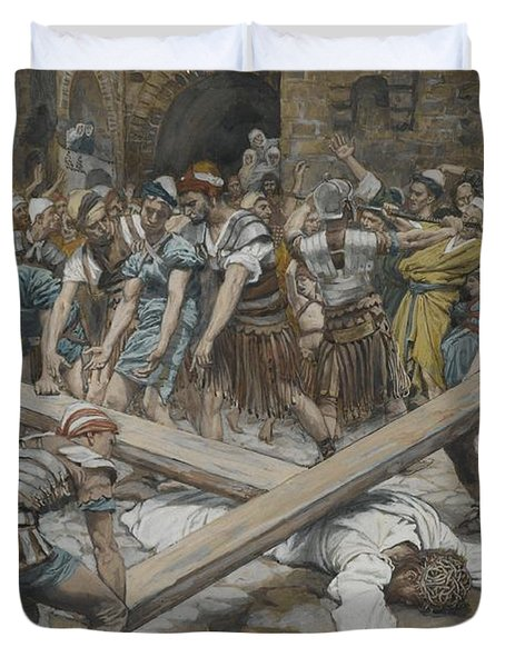 Simon The Cyrenian Compelled To Carry The Cross With Jesus Duvet Cover by Tissot
