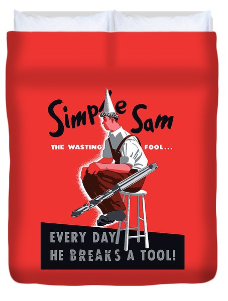 Simple Sam The Wasting Fool Duvet Cover by War Is Hell Store