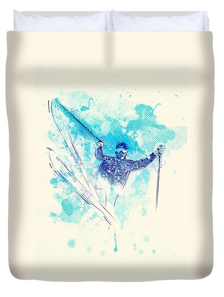 Skiing Down The Hill Duvet Cover by Bekare Creative