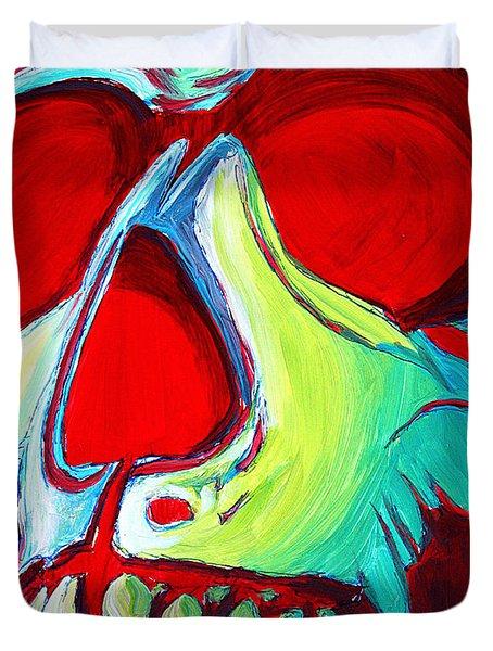 Skull Original Madart Painting Duvet Cover by Megan Duncanson