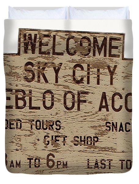Sky City Sign Duvet Cover by David Lee Thompson