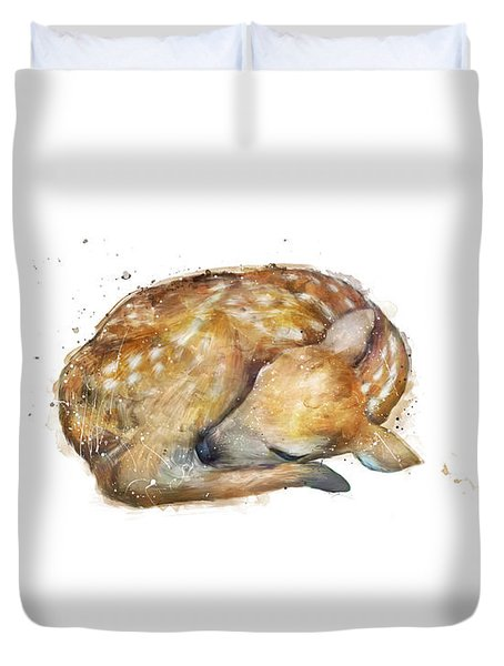 Sleeping Fawn Duvet Cover by Amy Hamilton