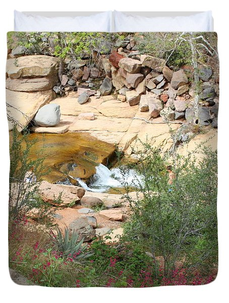Slide Rock With Pink Wildflowers Duvet Cover by Carol Groenen