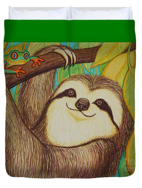 Sloth And Frog Duvet Cover by Nick Gustafson