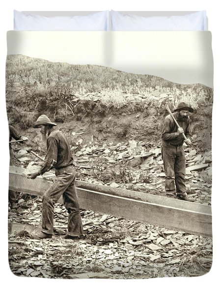 Sluice Box Placer Gold Mining C. 1889 Duvet Cover by Daniel Hagerman