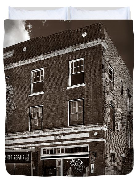 Small Town Shops - Sepia Duvet Cover by Christopher Holmes