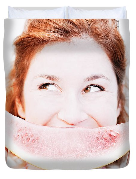 Smiling Summer Snack Duvet Cover by Jorgo Photography - Wall Art Gallery