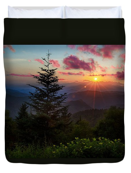 Smoky Mountain Sunset Duvet Cover by Christopher Mobley