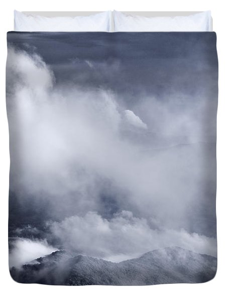 Smoky Mountain Vista In B and W Duvet Cover by Steve Gadomski