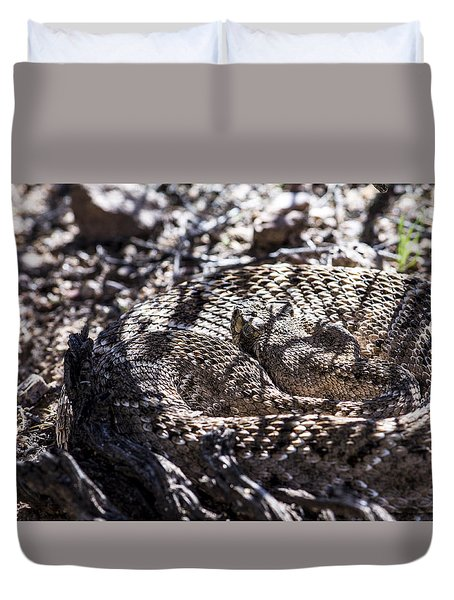 Snake In The Shadows Duvet Cover by Chuck Brown