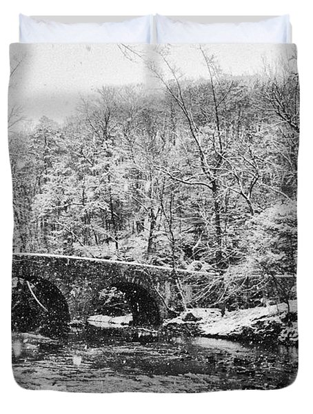 Snow Along The Wissahickon Creek Duvet Cover by Bill Cannon