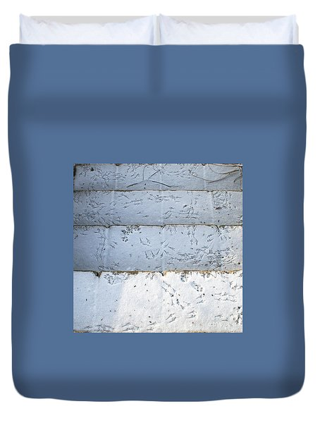 Snow Bird Tracks Duvet Cover by Karen Adams