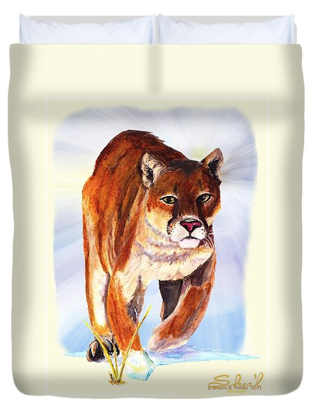 Snow Cougar Duvet Cover by Sherril Porter