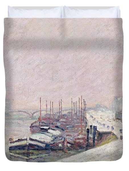 Snow In Rouen Duvet Cover by Jean Baptiste Armand Guillaumin