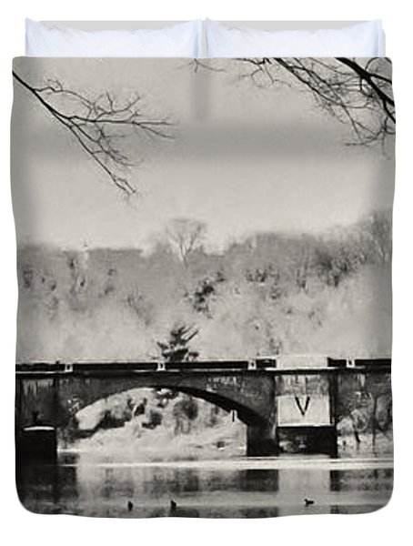 Snow On The River Duvet Cover by Bill Cannon