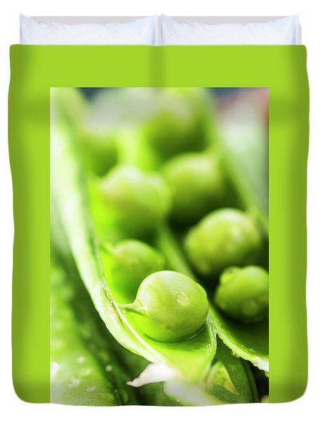 Snow Peas Or Green Peas Seeds Duvet Cover by Vishwanath Bhat