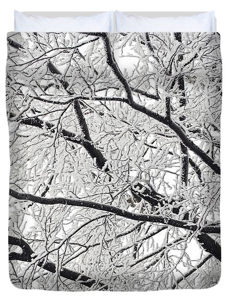 Snowy Branches Duvet Cover by Michal Boubin