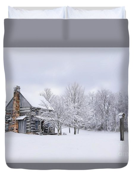 Snowy Cabin Duvet Cover by Benanne Stiens