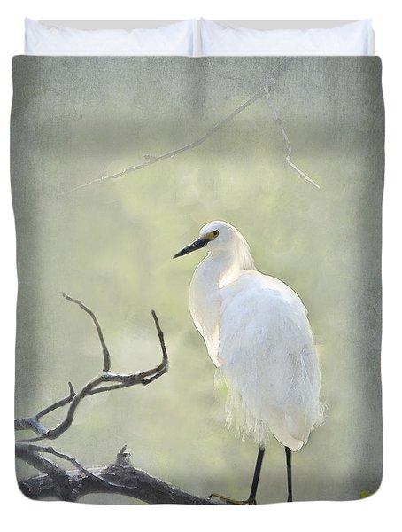 Snowy Egret Duvet Cover by Betty LaRue