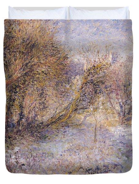 Snowy Landscape Duvet Cover by Pierre Auguste Renoir