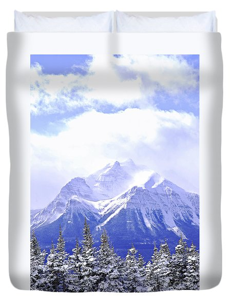 Snowy mountain Duvet Cover by Elena Elisseeva