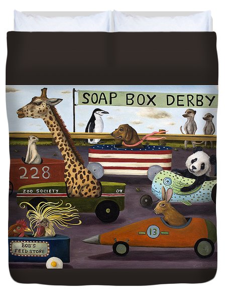 Soap Box Derby Duvet Cover by Leah Saulnier The Painting Maniac