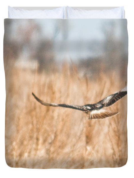 Soaring Hawk Over Field Duvet Cover by Douglas Barnett