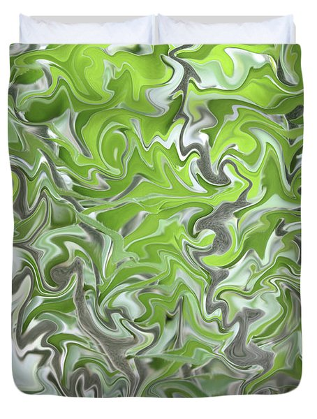 Soft Green and Gray Abstract Duvet Cover by Carol Groenen