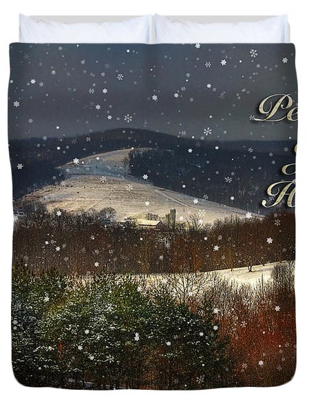 Soft Sifting Christmas Card Duvet Cover by Lois Bryan