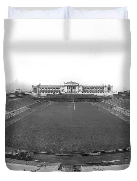 Soldier Field In Chicago Duvet Cover by Underwood Archives