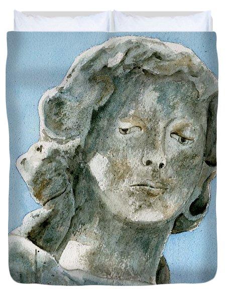 Solitude. A Cemetery Statue Duvet Cover by Brenda Owen