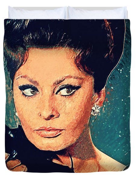 Sophia Loren Duvet Cover by Taylan Soyturk
