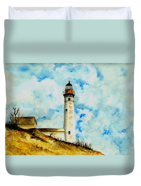 South Manitou Island Lighthouse Duvet Cover by Michael Vigliotti