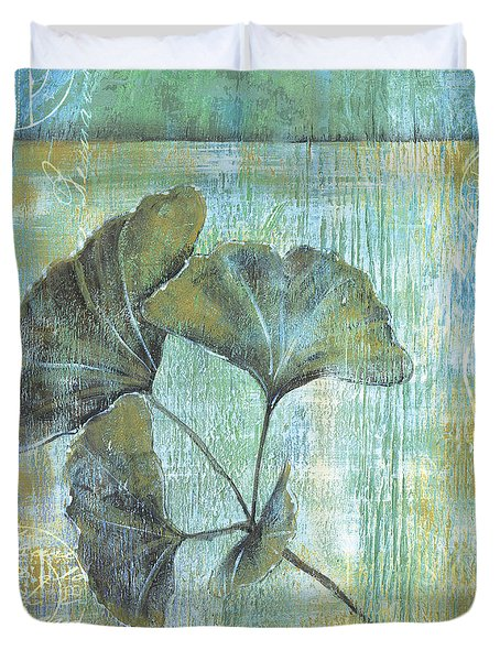 Spa Gingko Postcard 1 Duvet Cover by Debbie DeWitt