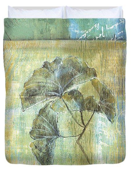 Spa Gingko Postcard  2 Duvet Cover by Debbie DeWitt