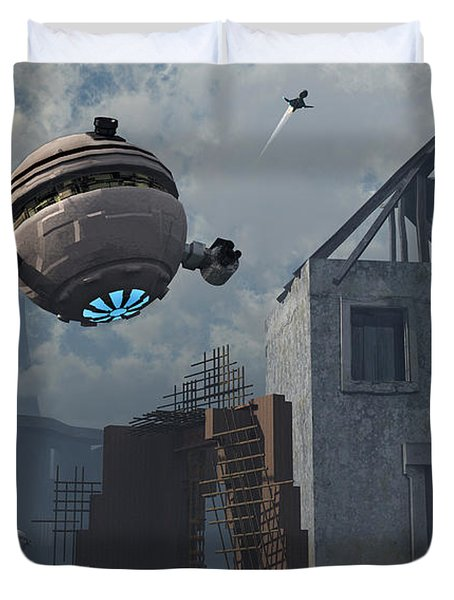 Space Probes And Androids Survey An Duvet Cover by Mark Stevenson