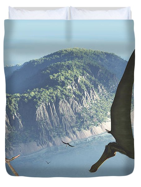 Species From The Genus Anhanguera Soar Duvet Cover by Walter Myers