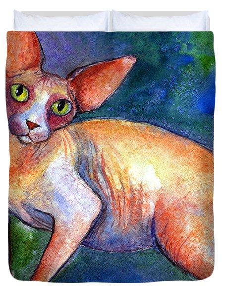 Sphynx Cat 4 Painting Duvet Cover by Svetlana Novikova