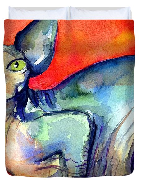 Sphynx Cat 6 painting Duvet Cover by Svetlana Novikova