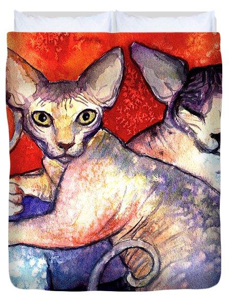 Sphynx cats sphinx family painting  Duvet Cover by Svetlana Novikova