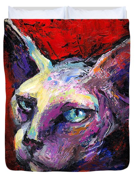 Sphynx Sphinx Cat Painting  Duvet Cover by Svetlana Novikova