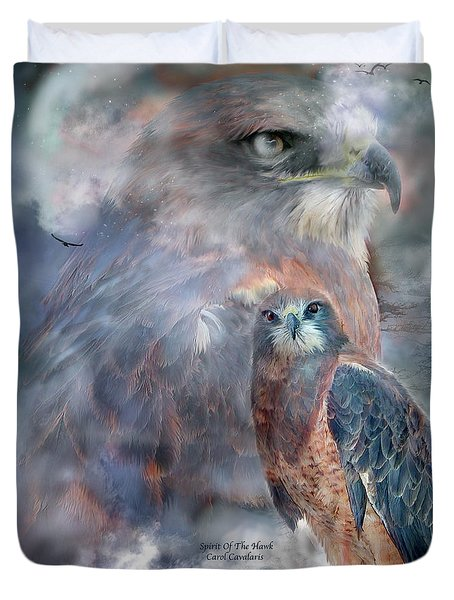 Spirit Of The Hawk Duvet Cover by Carol Cavalaris