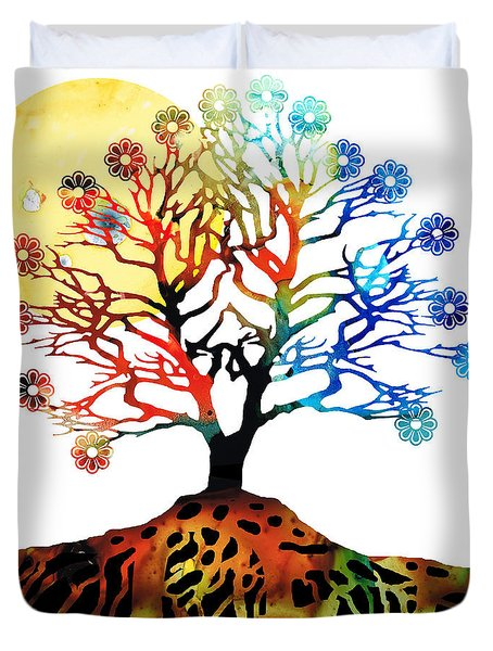 Spiritual Art - Tree Of Life Duvet Cover by Sharon Cummings