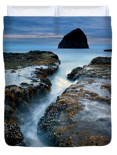 Splitting Stone Duvet Cover by Mike  Dawson