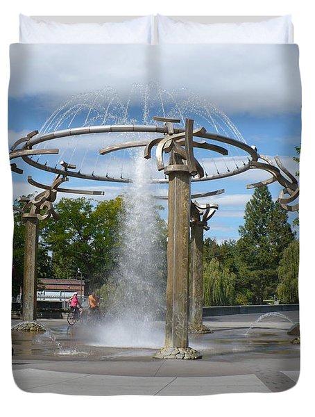 Spokane Fountain Duvet Cover by Carol Groenen