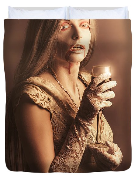 Spooky Vampire Girl Drinking A Glass Of Red Wine Duvet Cover by Jorgo Photography - Wall Art Gallery